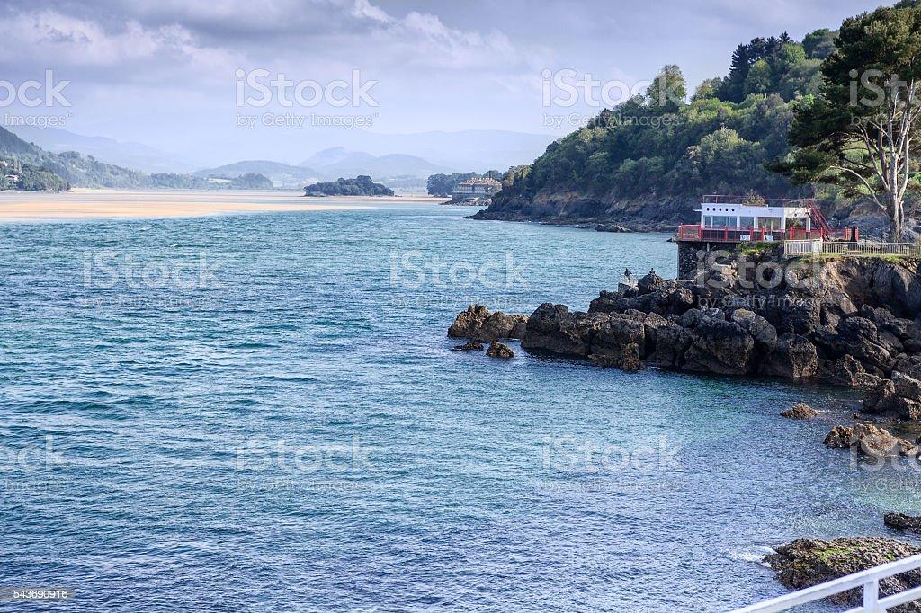 Estuary of Oka River. Mundaka.  Spain stock photo