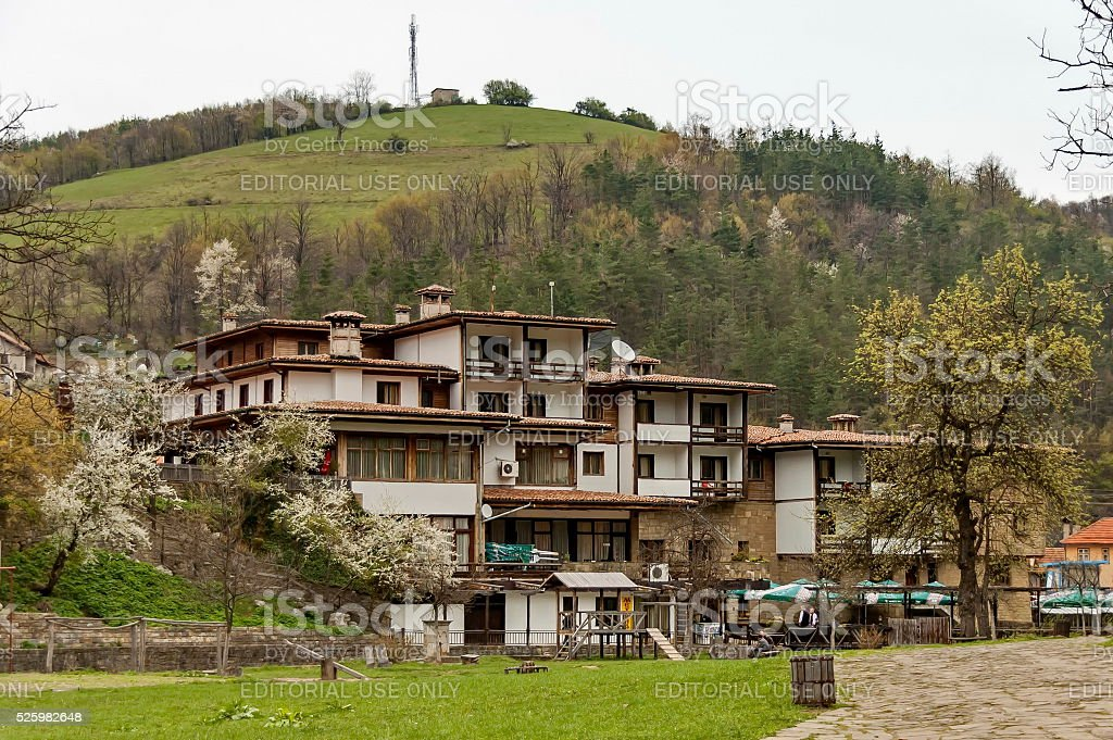 Etar village with guest house in old architectural style stock photo