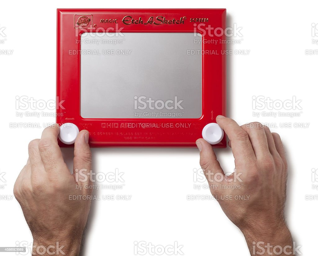 Etch A Sketch Toy on White royalty-free stock photo