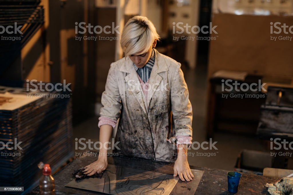 Etchings and craft products made by one determined woman stock photo