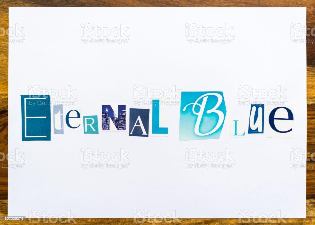 Eternal Blue - note on desk stock photo
