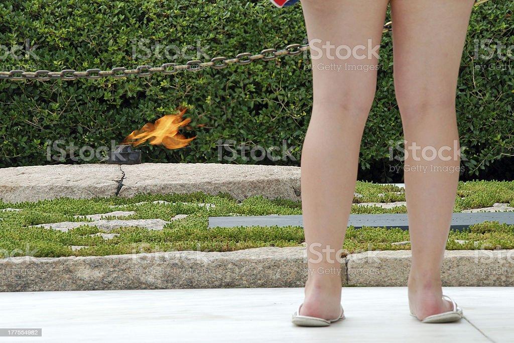 Eternal fire on JFK memorial royalty-free stock photo