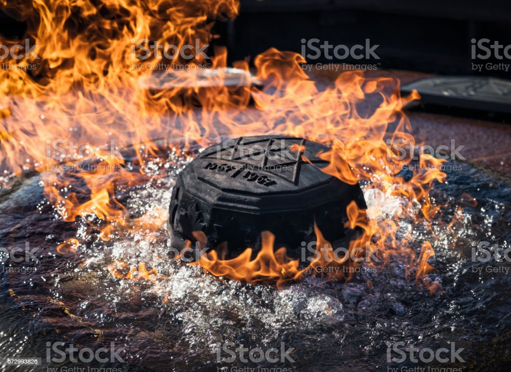 Eternal flame fountain in Ottawa, Canada stock photo