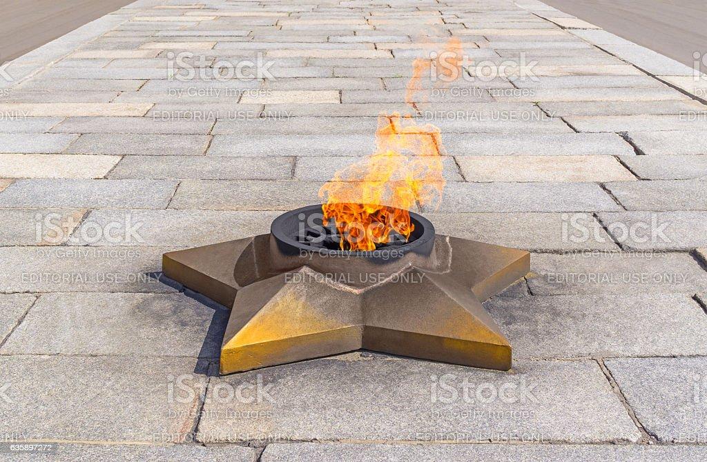 Eternal flame in Memorial Park stock photo