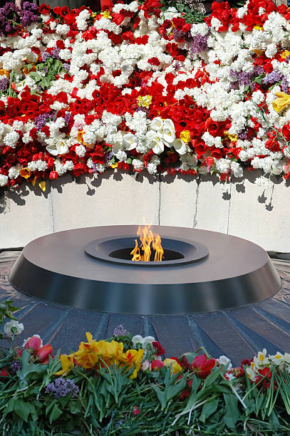 Eternal flame in Tsitsernakaberd Eternal flame in Tsitsernakaberd. Tsitsernakaberd is a memorial dedicated to the victims of the Armenian Genocide. Yerevan, Armenia. The eternal flame inside the memorial. armenian genocide stock pictures, royalty-free photos & images