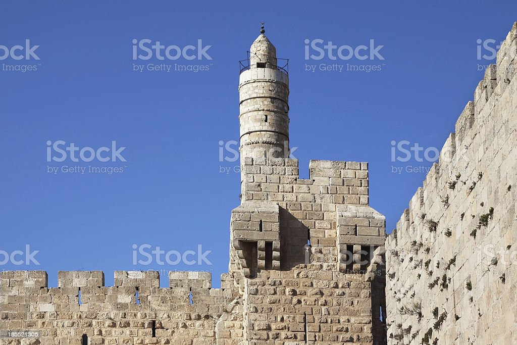 Eternal Jerusalem surrounded with walls royalty-free stock photo