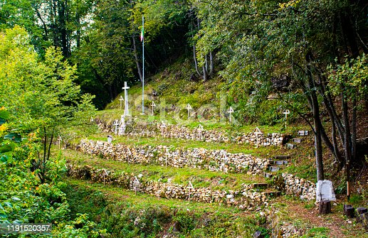 image of the cemetery of the great war under Mount Cimone in Arsiero a mountain small village near Vicenza, Italy.