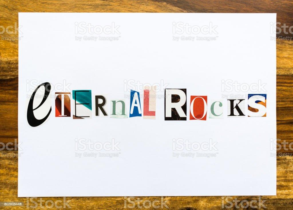 Eternal Rocks - note on desk stock photo