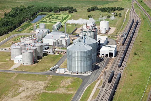 Ethanol Biorefinery Aerial View stock photo