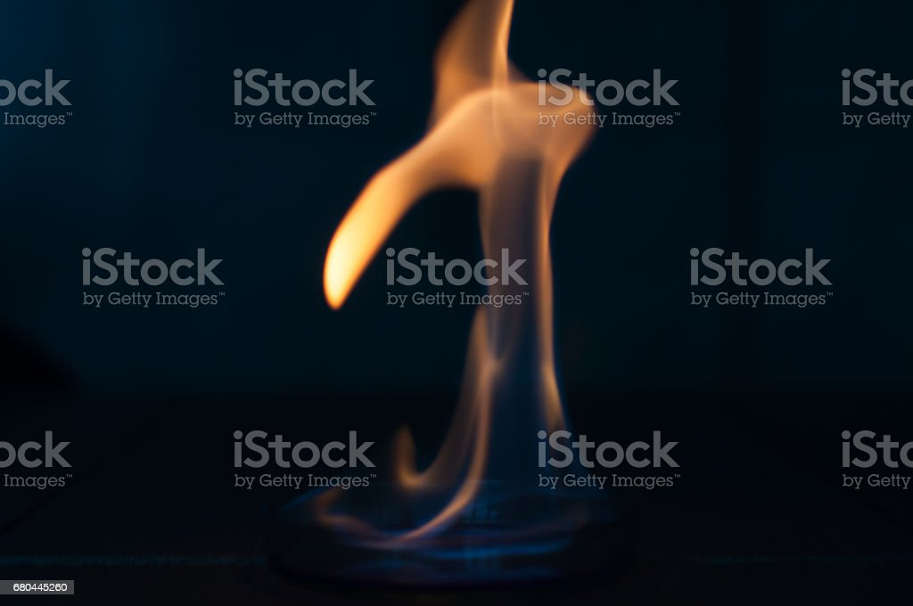 Ethanol Fire In Glass Lab Plate Stock Photo - Download Image