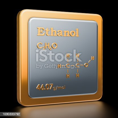 istock Ethanol. Icon, chemical formula, molecular structure. 3D rendering 1030333792