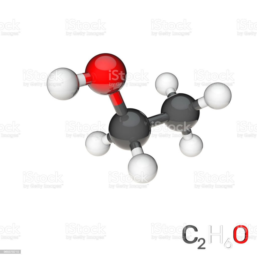 Ethanol model molecule. Isolated on white background. 3D rendering illustration. zbiór zdjęć royalty-free
