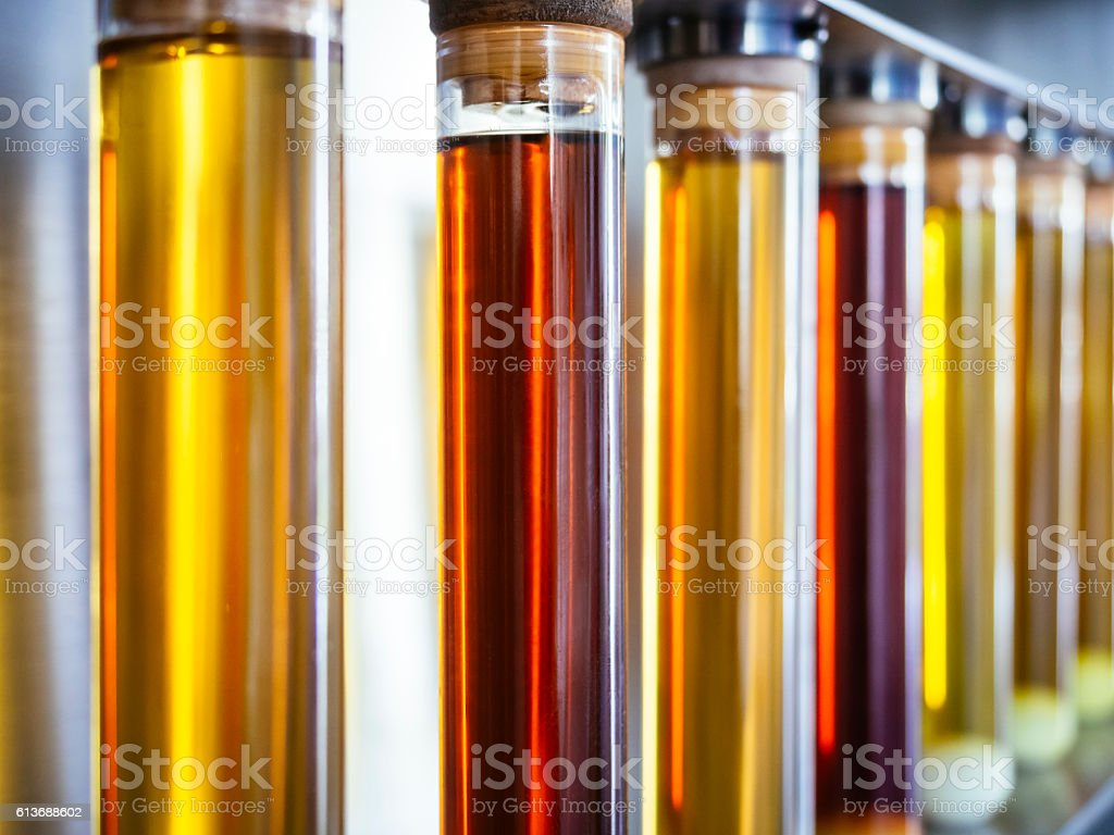 Ethanol oil test in Tube Fuel Biodiesel research Industry stock photo