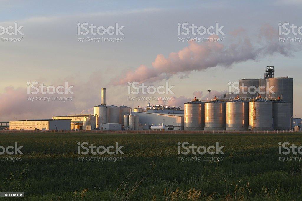 Ethanol Plant at Sunrise stock photo