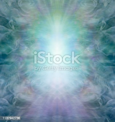a white blue central column of light energy against a wispy gaseous jade green blue symmetrical nature inspired background