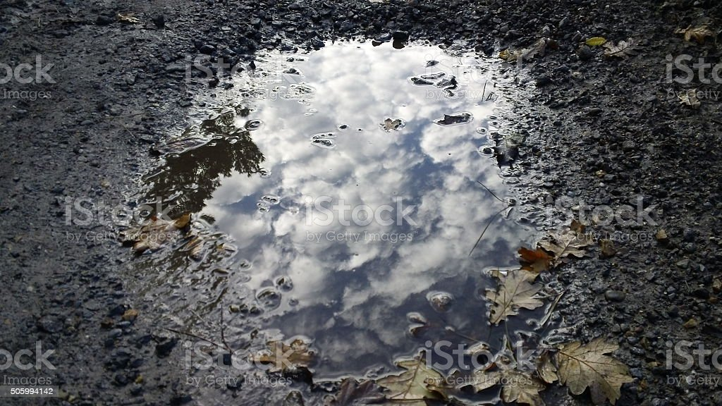 Ethereal reflection of cloudy sky in leafy puddle stock photo