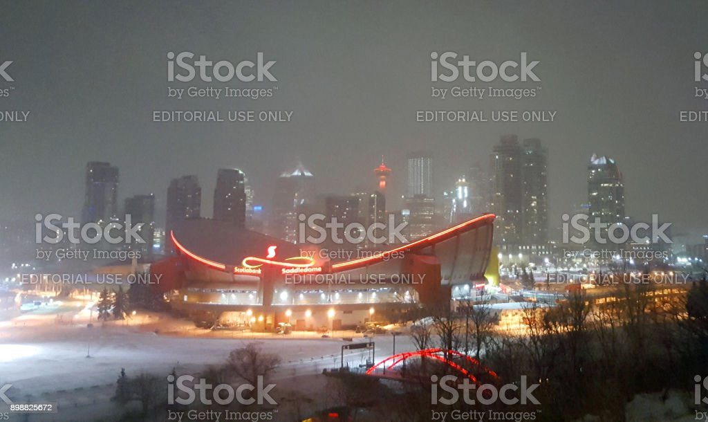 Ethereal Winter Evening In Calgary stock photo