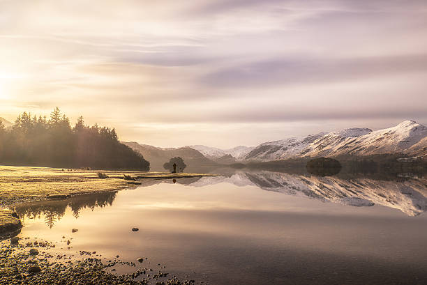 Ethereal winter light at Derwentwater, Lake District stock photo