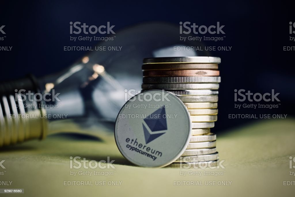 Ethereum coin stock photo