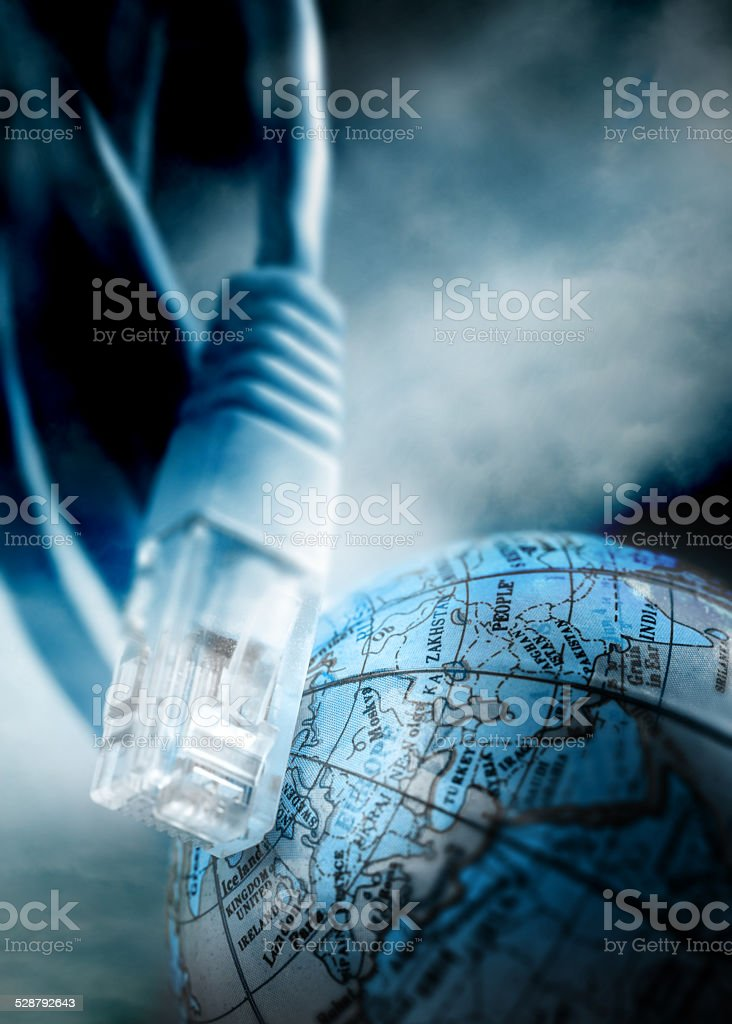 Ethernet cable for computer and globe stock photo