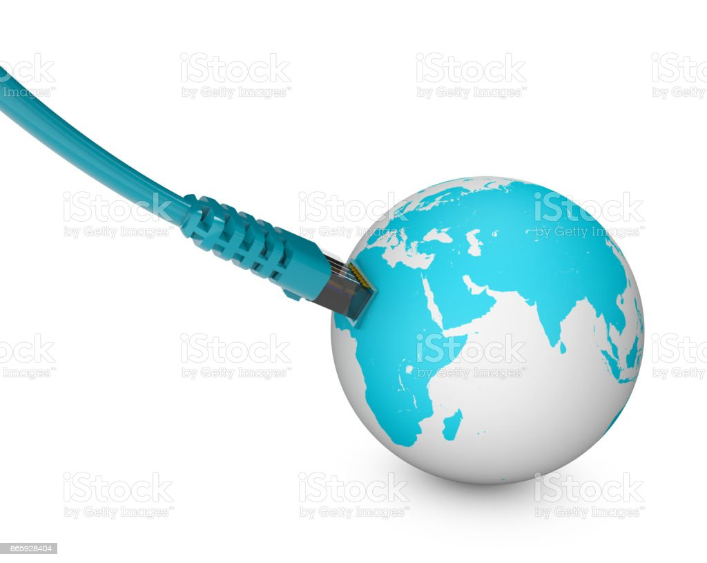 Ethernet cable, internet connection, bandwidth. The world on the web. World Connections, Globe stock photo