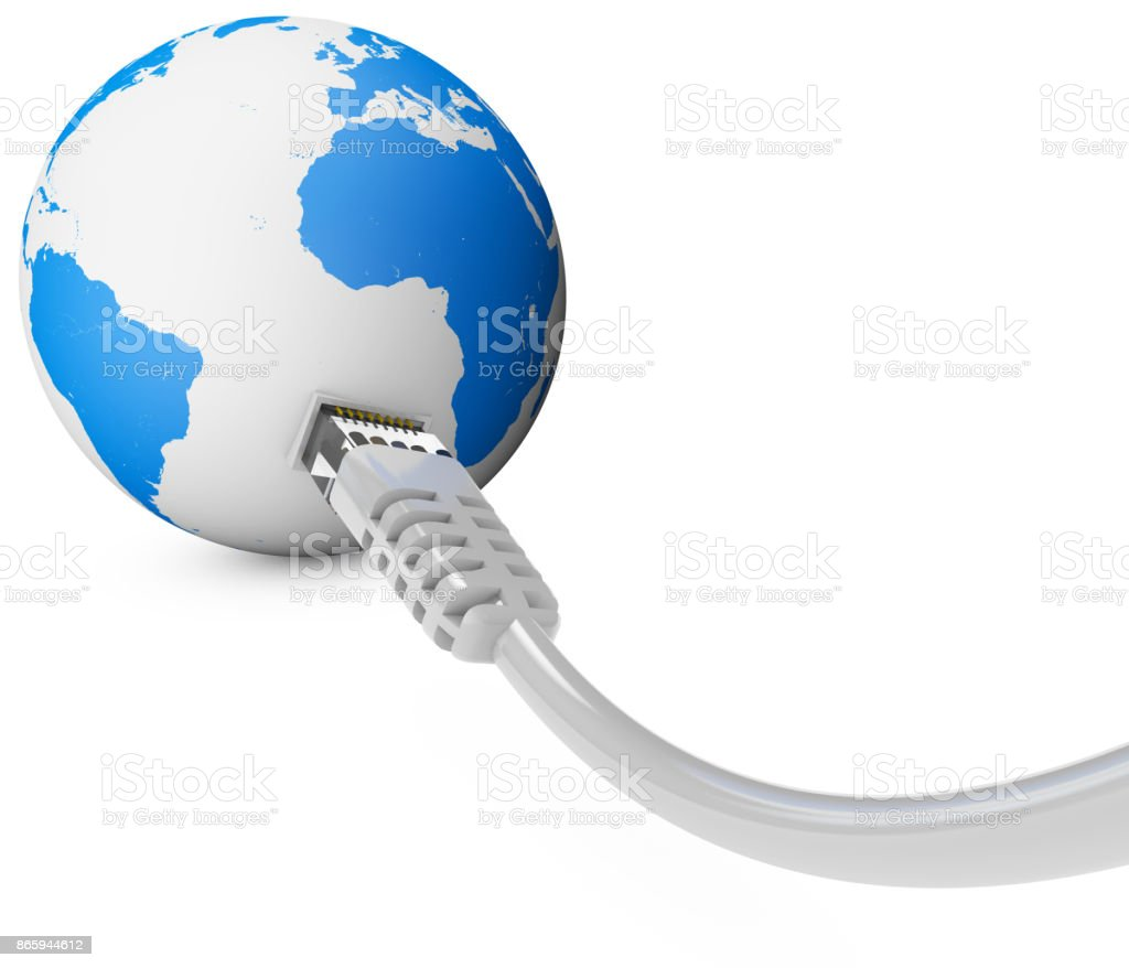 Ethernet cable, internet connection, bandwidth. The world on the web. World Connections, Globe. South America. stock photo