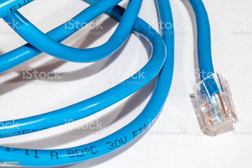 Ethernet cat5 cable macro stock photo