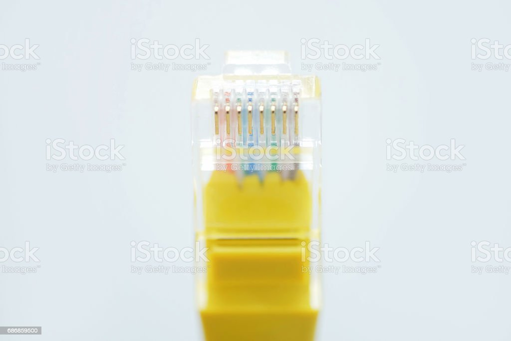 Ethernet Connector With Cable Symbol For Download Close Up Stock