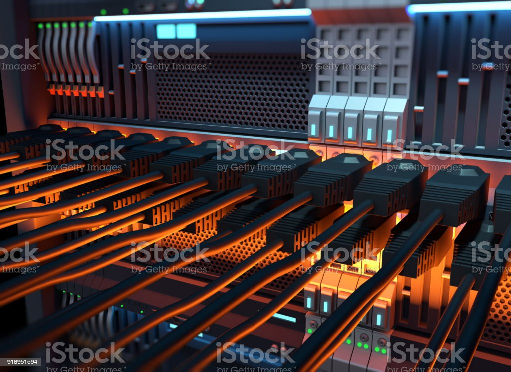 Ethernet network Cables Connected to Internet server 3d illustration stock photo