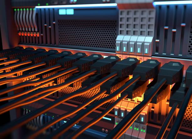 ethernet-netzwerk kabel internet server 3d illustration - router stock-fotos und bilder