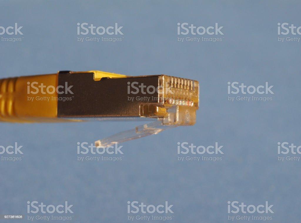 RJ45 ethernet plug RJ45 plug for LAN local area network ethernet connection Cable Stock Photo