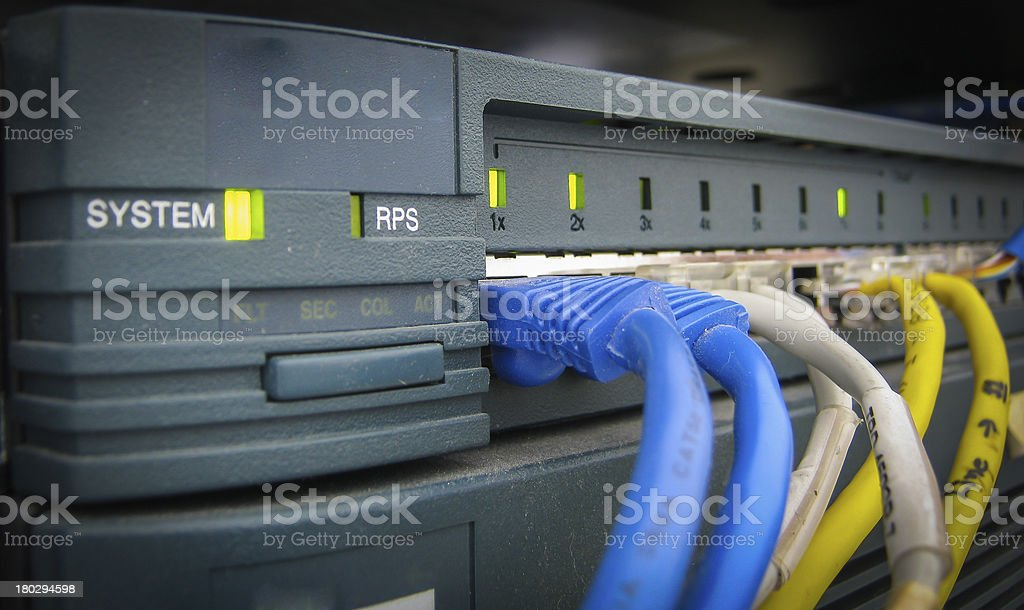 Ethernet RJ45 cables are connected to internet switch royalty-free stock photo