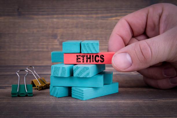 다채로운 나무 블록으로 윤리 사업 개념 - 도덕성 뉴스 사진 이미지