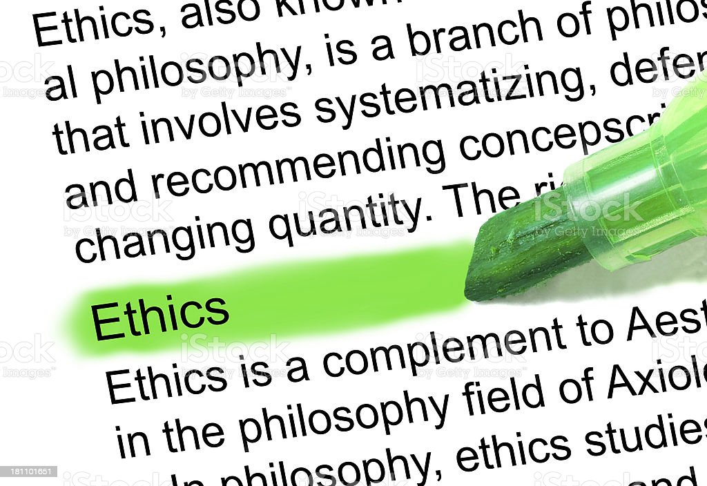 ethics definition marked in dictionary stock photo