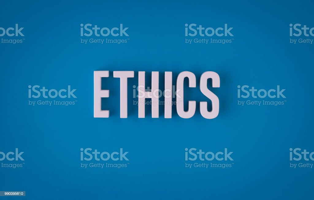 Ethics lettering sign stock photo