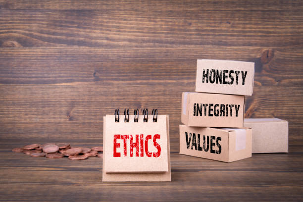 Ethics oncept. Honesty, integrity and values words Ethics oncept. Honesty, integrity and values words. Paper boxes on wooden background social issues stock pictures, royalty-free photos & images