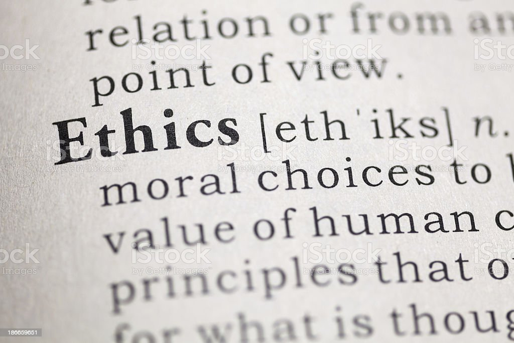 Ethics Fake Dictionary, Dictionary definition of the word Ethics. Book Stock Photo