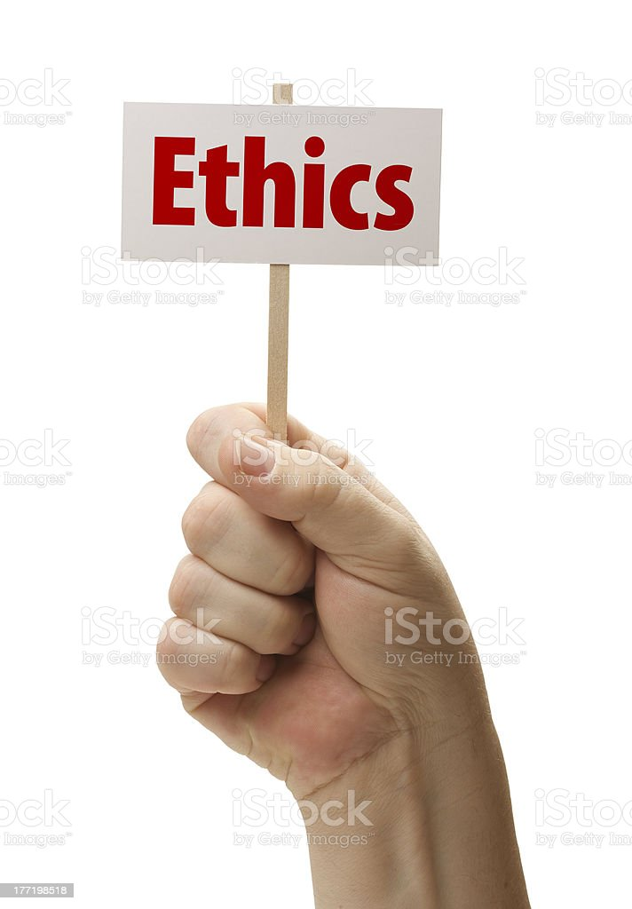 Ethics Sign In Fist On White royalty-free stock photo