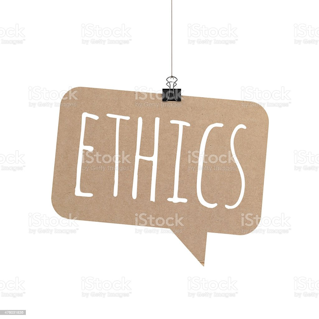 Ethics speech bubble hanging on a string stock photo