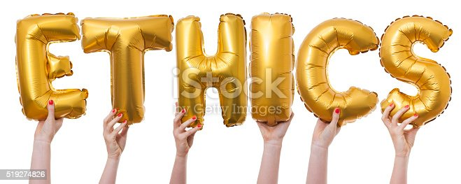 The word ethics has been created by female hands holding individual letter balloons. Each balloon is being held against a plain white background by a caucasian female hand. The Balloons are inflated and made from a shiny reflective gold material.