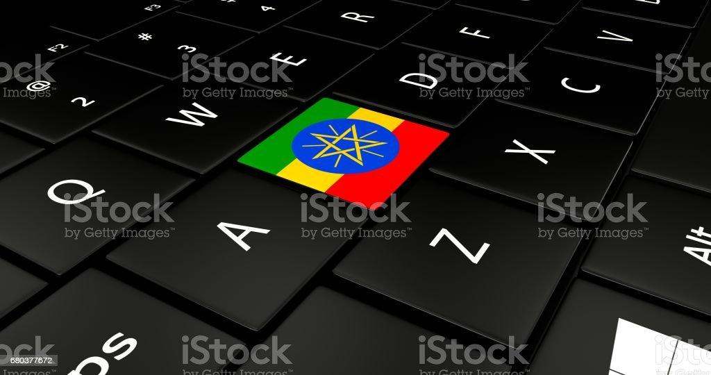 Ethiopia flag button on laptop keyboard. royalty-free stock photo