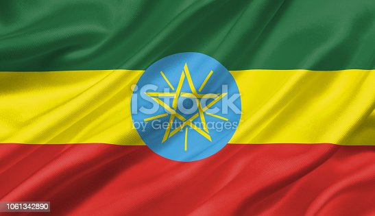 1056280906 istock photo Ethiopia flag waving with the wind, 3D illustration. 1061342890