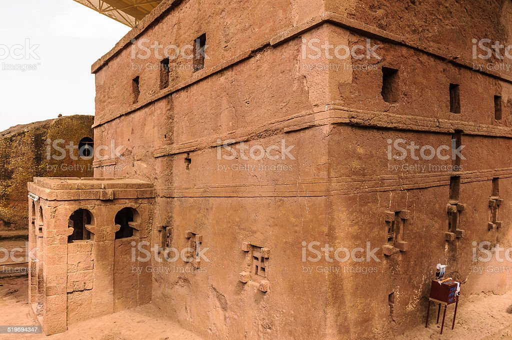 Ethiopia, Lalibela. Moniolitic rock cut church stock photo