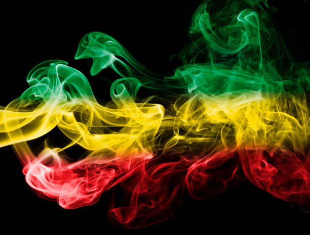 ethiopia national smoke flag - ethiopian flag stock photos and pictures