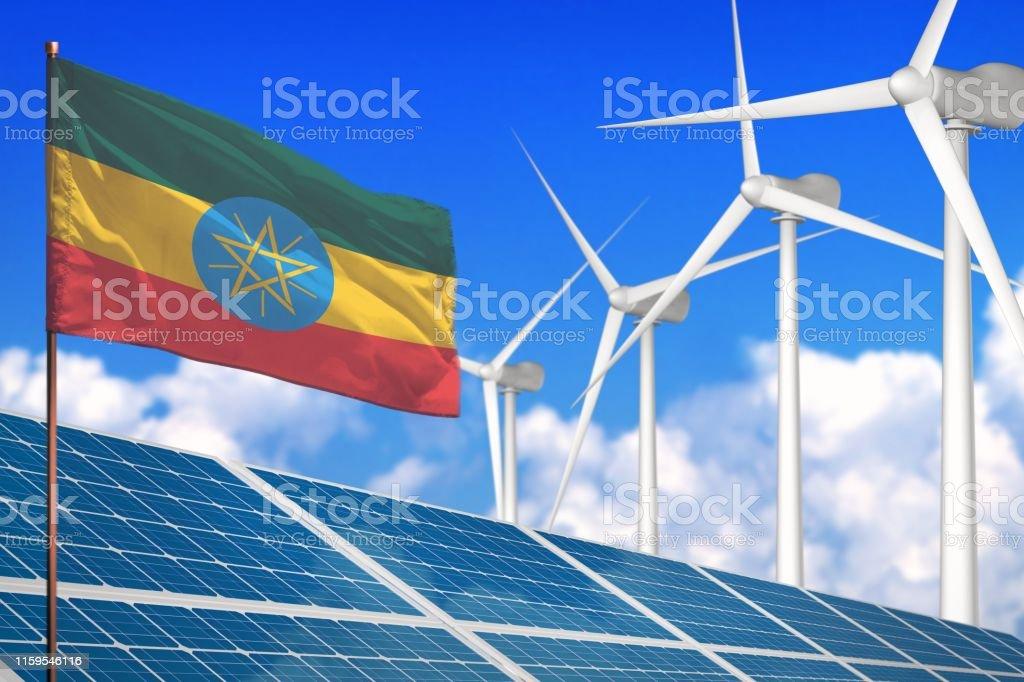 Ethiopia solar and wind energy, renewable energy concept with...