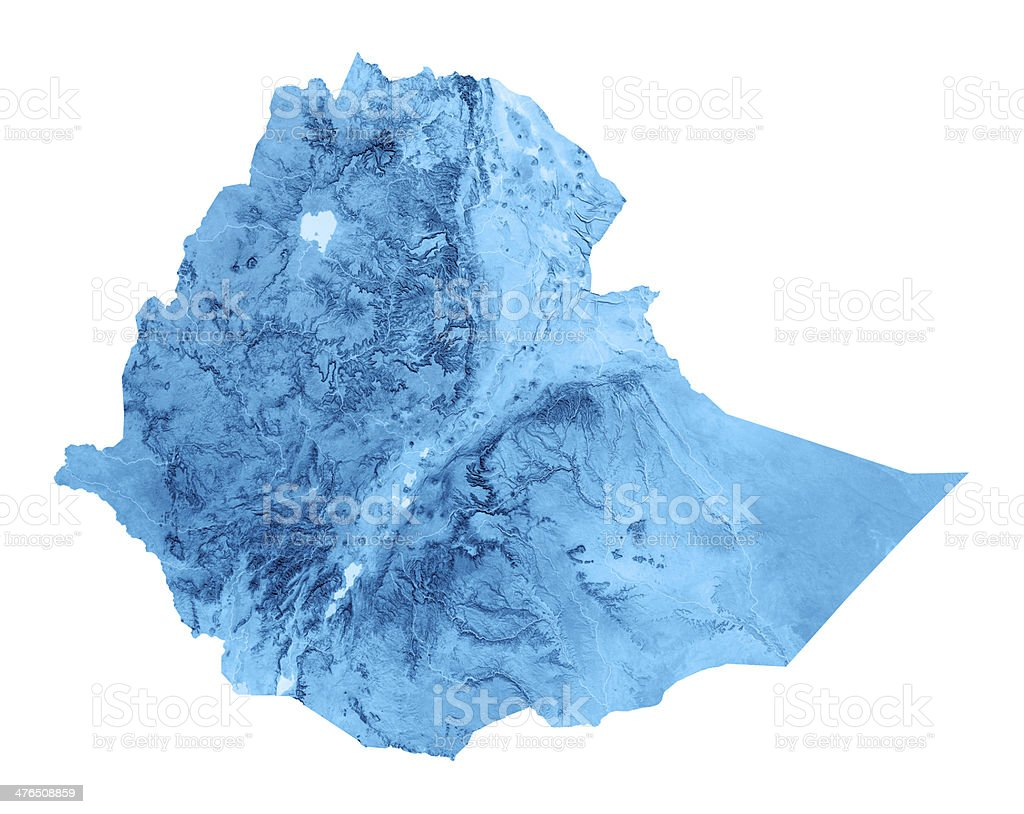 Ethiopia Topographic Map Isolated stock photo
