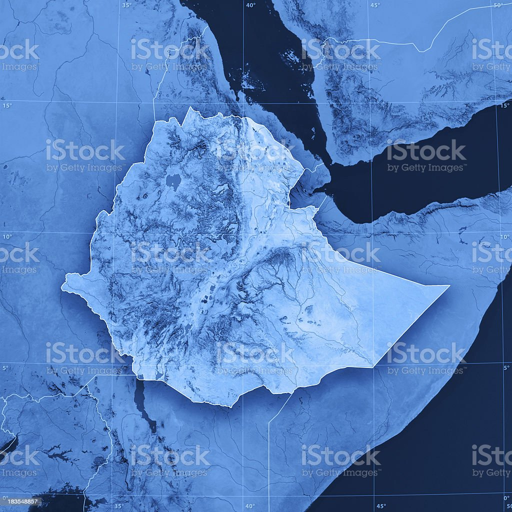 Ethiopia Topographic Map stock photo