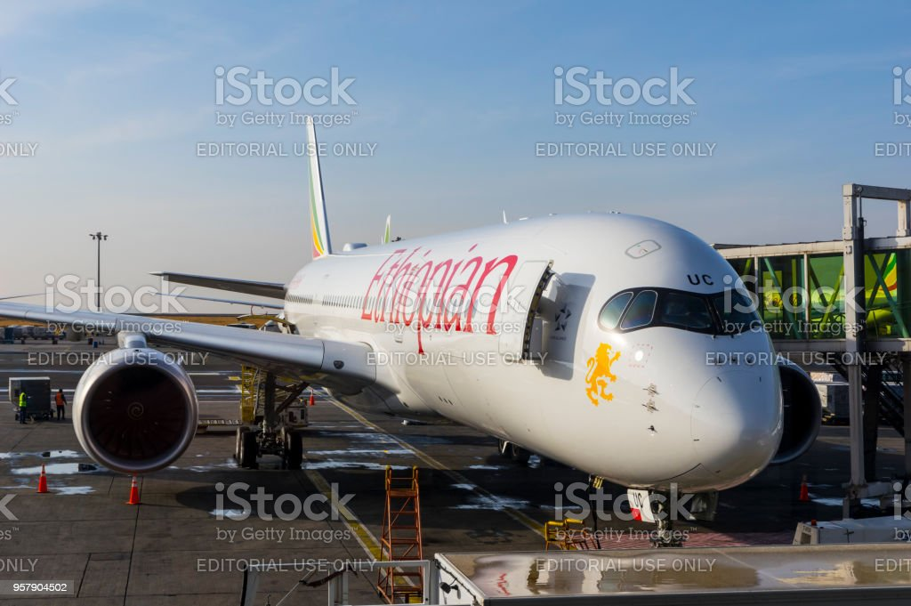 Ethiopian Airlines Airbus A350 At Addis Ababa Bole Airport Stock