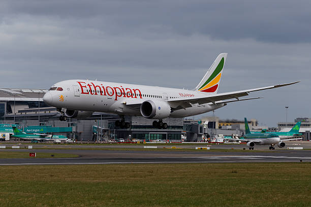 Ethiopian Airlines Boeing 787 Dreamliner ET-ASG landing at Dublin Airport stock photo