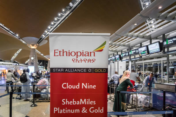 Ethiopian Airlines check-in counter at Kuala Lumpur International Airport. stock photo